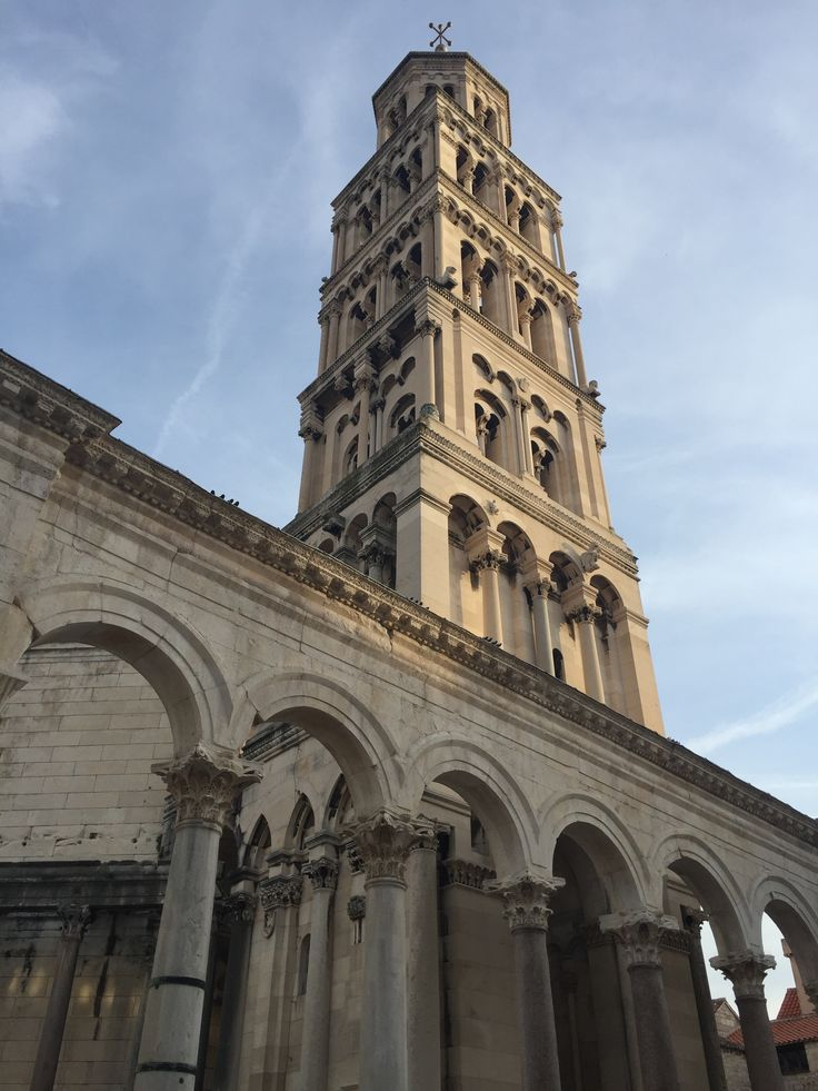 The beautiful campanile built on top of the tomb of the Roman Emperor Diocletian in his Palace in Split, Croatia.