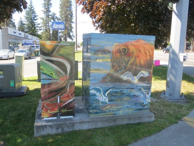 "City of Coeur d'Alene - Public Art Utility Boxes, Idaho ""On the Beach & Peculiar Dreams"" Artists:  Terry Lee & Amanda Adams Location:  Government Way & Neider"