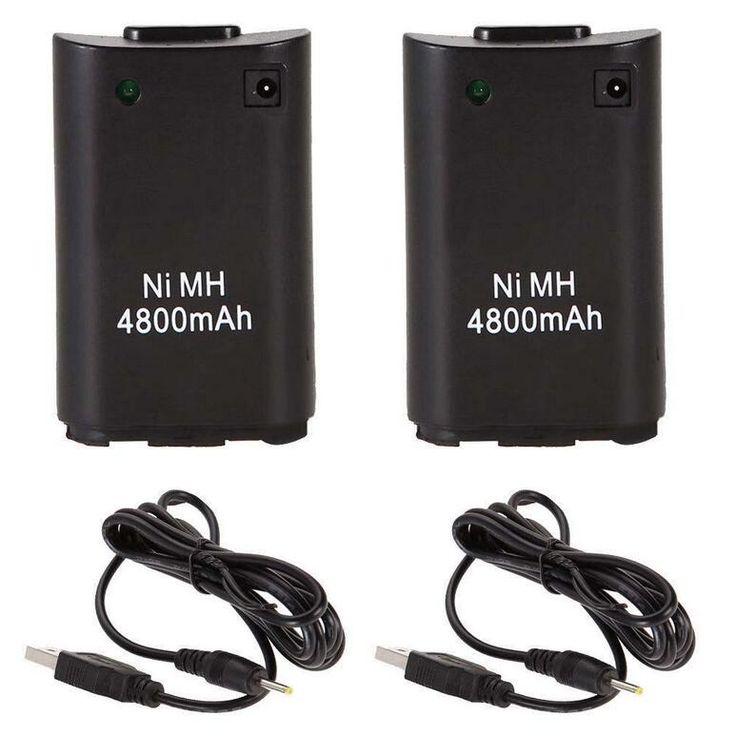 2x4800 mah battery pack + carregador de cabo para xbox 360 controlador wireless xbox 360 bateria carregador de bateria