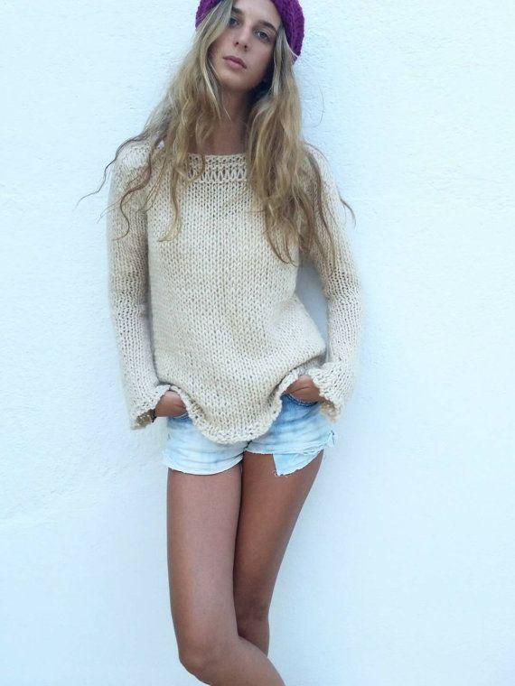 Chunky cream sweater, women sweater, ivory knit sweater, women knit sweater…
