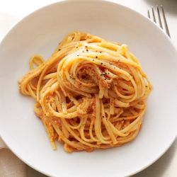 Creamy Pink Linguine - Ricotta and Tomato come together in minutes for this delicious dish.