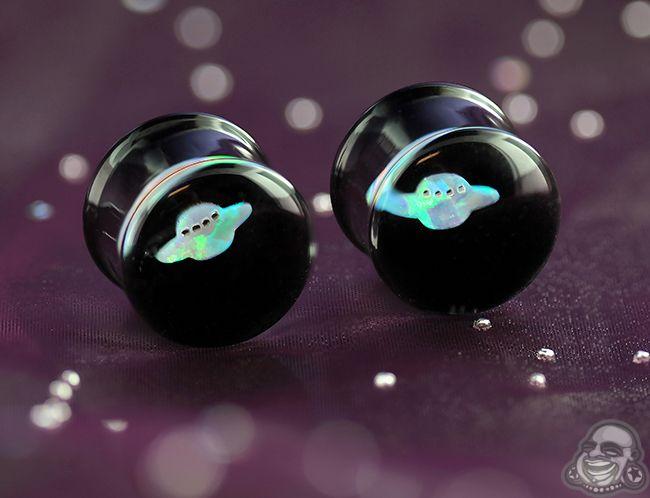 Pyrex glass opal UFO plugs