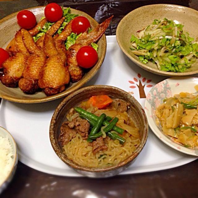 すき焼き肉のあまりで肉じゃがに❤️ わたしはメンマが大好物です(●U艸U●) - 19件のもぐもぐ - 手羽先餃子、白菜の中華サラダ、ネギメンマ、肉じゃが by aiedy