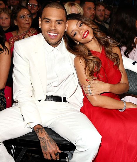 Chris Brown and Rihanna attend the 55th Annual Grammy Awards on February 10, 2013.