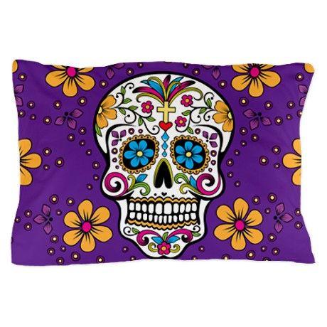 Sugar Skull PURPLE Pillow Case on CafePress.com