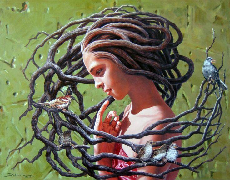 Denis Nunez Rodriguez art painting oil canvas cuban mothernature tree hair bird