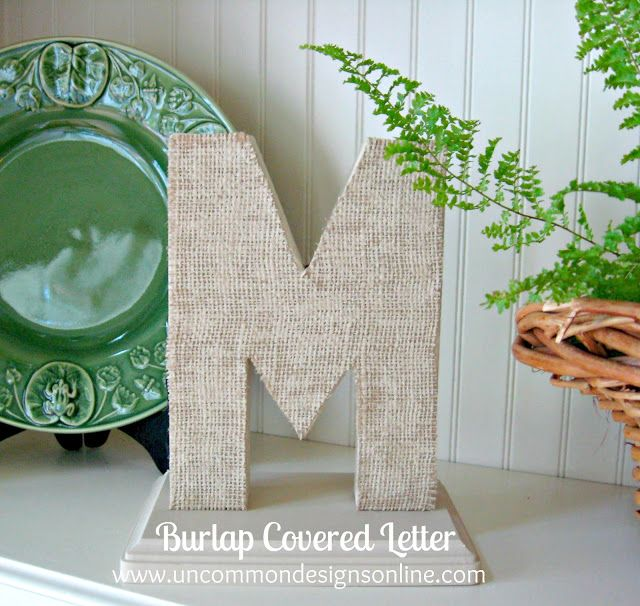a perfect combination of burlap and a monongram burlap covered letters a simple and