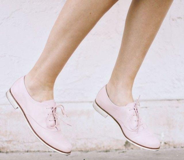 soft pink brogues