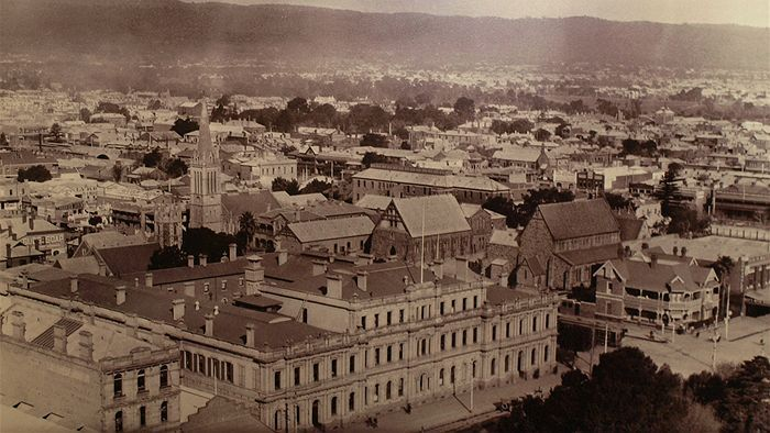 Looking South East: the Torrens Building, Victoria Square, St Francis Xavier Church and Wakefield St