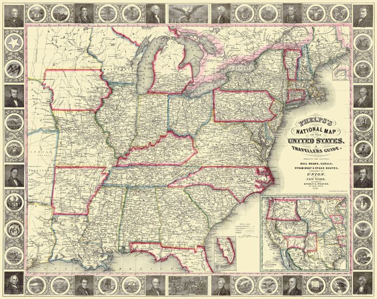 State Maps United States U S A Traveller S Guide 1852 Map