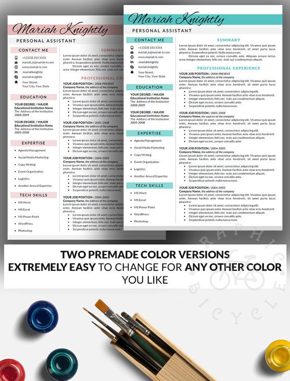 Resume Template Word Instant Download Cover by GraphicBicycle