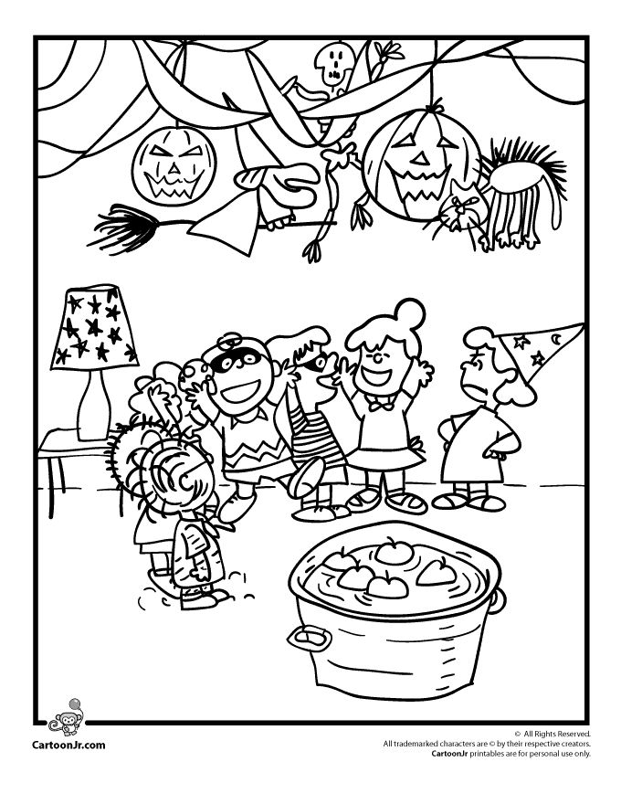 It's the Great Pumpkin Charlie Brown Coloring Pages Charlie Brown Halloween Party Coloring Page – Cartoon Jr.