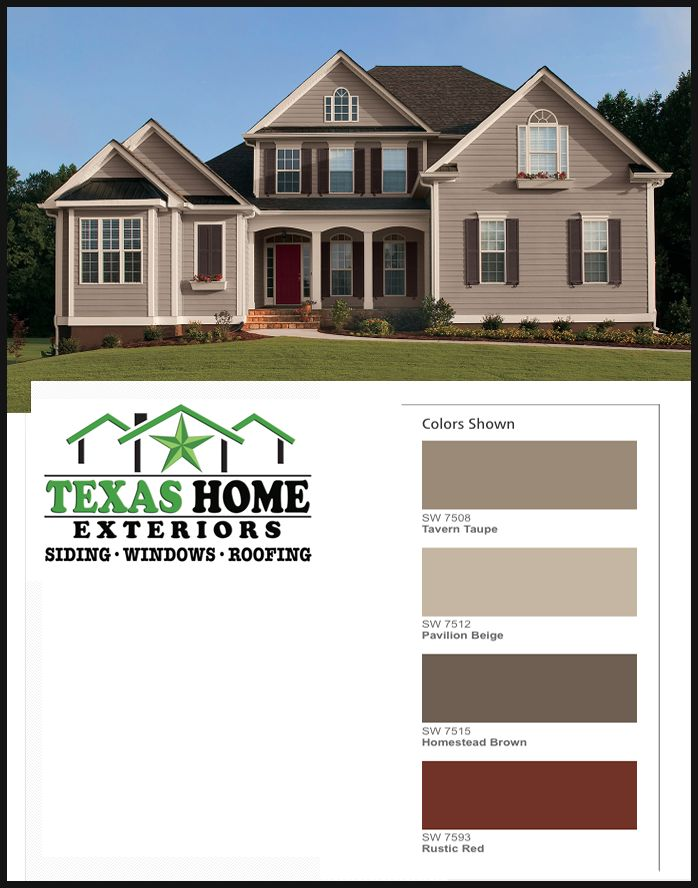 Sherwin-Williams Exterior House Color SW 7508 Tavern Taupe; SW 7512 Pavillion Beige; SW 7515 Homestead Brown; SW 7593 Rustic Red