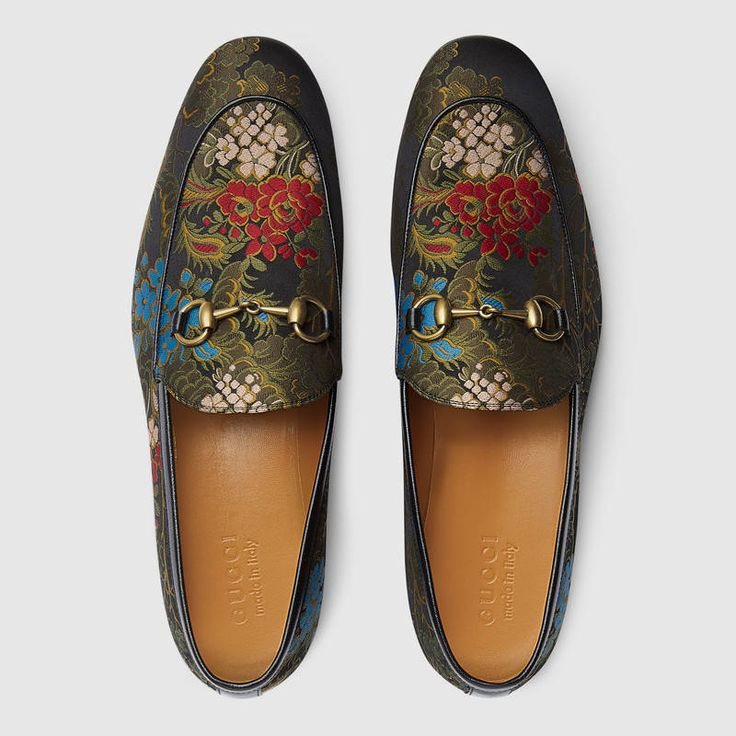 $890 GUCCI Loafers   SOLD by Gucci   Jordaan jacquard loafer  Boasts a slim shape with Horsebit detail. The floral jacquard fabric originates from an ancient technique called gobelin that combines a large number of colors to create a photographic effect of the flowers on luxurious fabrics. The result is a very defined, compact tapestry that is durable and resilient while retaining the delicacy of this special fabric. Leather sole.Made in Italy  Style ‎430088 9BL30 1089