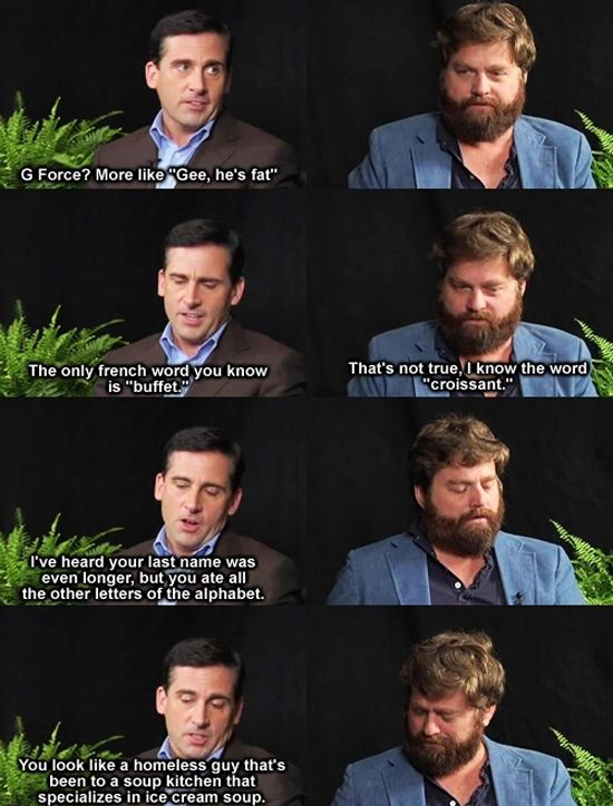 zach galifianakis quotes | Steve Carell V.S Zack Galifianakis.. BEGIN! | Funny Pictures, Quotes ...