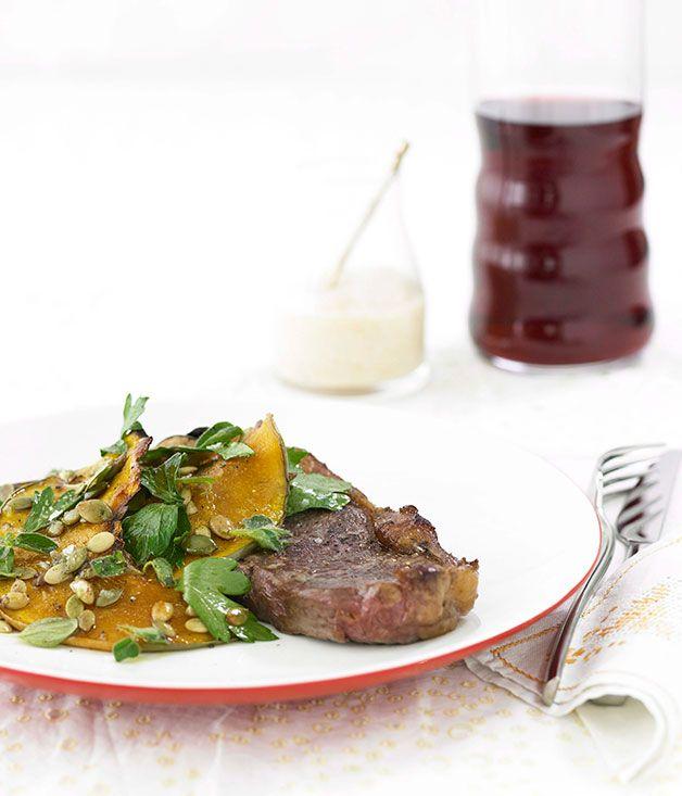 Australian Gourmet Traveller fast recipe for sirloin steak with roasted pumpkin