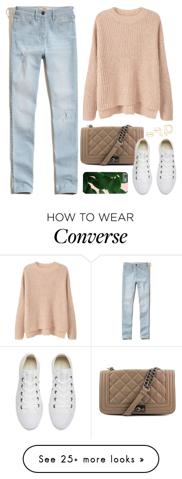 """""""OOTD - Pink Sweater"""" by by-jwp on Polyvore featuring MANGO, Hollister Co., Steve Madden and Converse"""