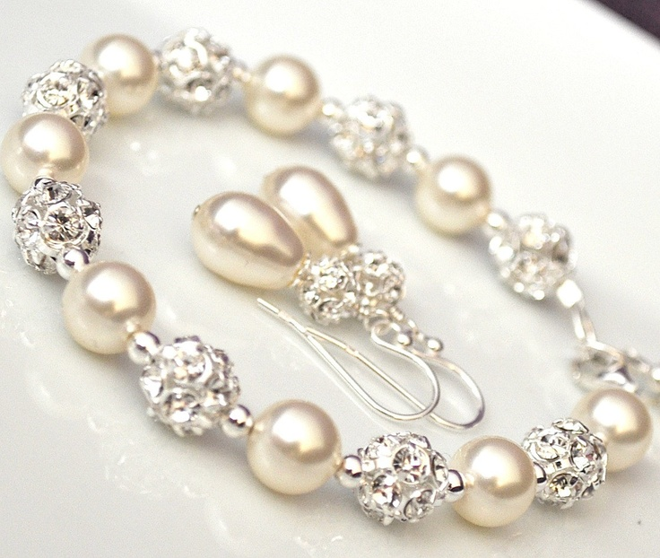Swarovski Bridal Jewelry SET, Bridal Jewellery, Bracelet and Earrings SET, Pearl Jewelry SET. $90.00, via Etsy.