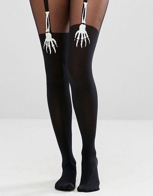 ASOS - Halloween - Collant effetto autoreggenti con mano di scheletro che si illumina al buio