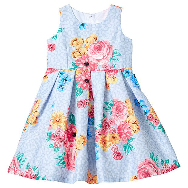 Girls' Floral Print Pleated Party Dress