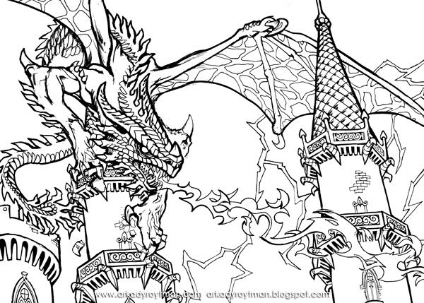 scary dragon coloring pages bing images - Challenging Dragon Coloring Pages