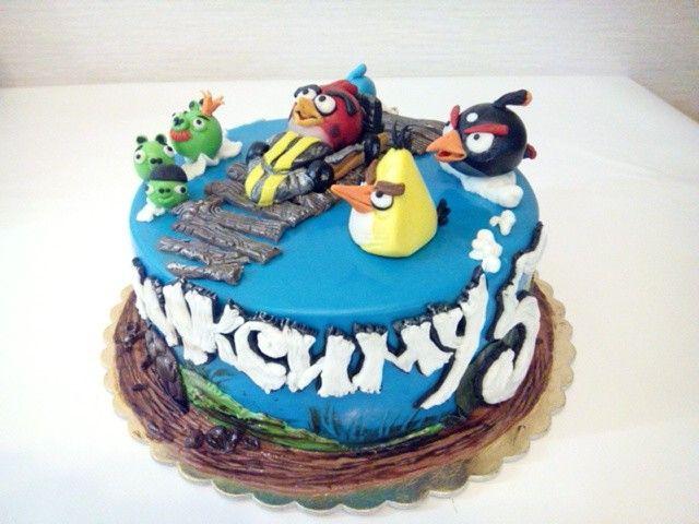 Детский торт с Энгри бердс