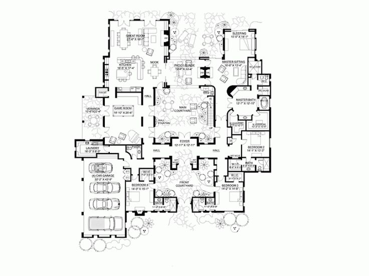 19 best images about hacienda house plans on pinterest for One story house plans with center courtyard