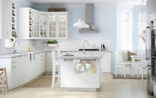 Ikea kitchen inspiration, white cabinets, grey and white countertops