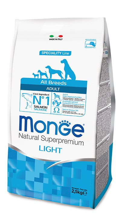 ALL BREEDS ADULT LIGHT SALMON AND RICE Kibbles Monge Natural Superpremium Speciality Line Adult Light with Salmon and Rice are a complete and balanced food for all breeds adult dogs that tend to be overweight or that have reduced energy requirements.