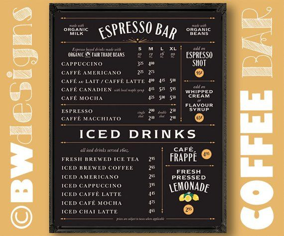 Economical Simple Clean Coffee Shop Sign Chalkboard Menu Espresso Bar Menu Drink Pricing Cafe Sn Coffee Shop Signs Snack Bar Menu Coffee Shop Menu