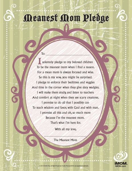 Take the Meanest Mom Pledge!Girls, Quotes, Mom Pledgewith, Meanest Mom, Be A Mom, Healthy Weights, Be A Parents, Random Pin, Weights Loss