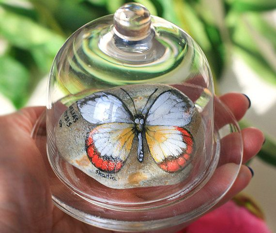Set of two stones with a hand-painted white Peridae by SkadiaArt