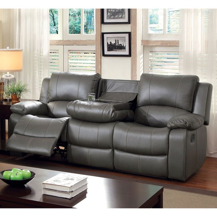 Furniture of America Rembren Grey Bonded Leather Reclining Sofa (Grey)