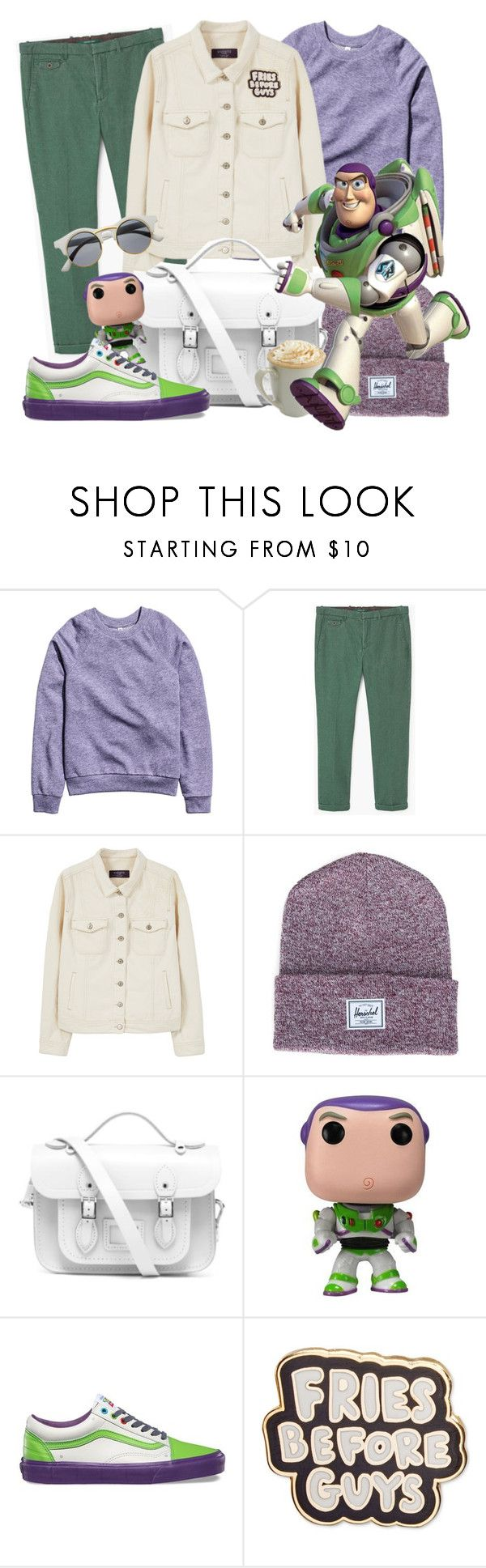 """Disney's - Buzz Lightyear"" by tdwsammy ❤ liked on Polyvore featuring H&M, MANGO MAN, Violeta by Mango, Herschel Supply Co., The Cambridge Satchel Company, Dulce, Disney, Vans, ban.do and Retrò"