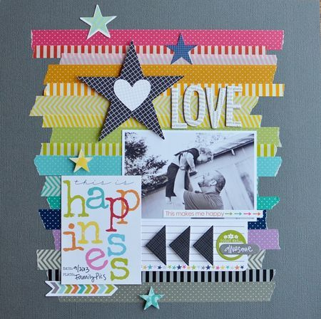 Use washi tape to create a background design // layout by Jennifer Chapin for Bella Blvd
