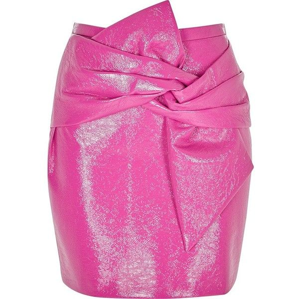River Island Pink bow front vinyl mini skirt ($70) ❤ liked on Polyvore featuring skirts, mini skirts, pink, women, pink skirt, pink vinyl skirt, vinyl skirt, river island and pink miniskirt