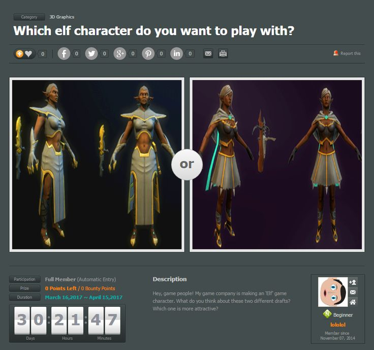 Choose an elf game character for game people!  #Creavorite #SocialPolling #3D #modeling #game #elf #character #design