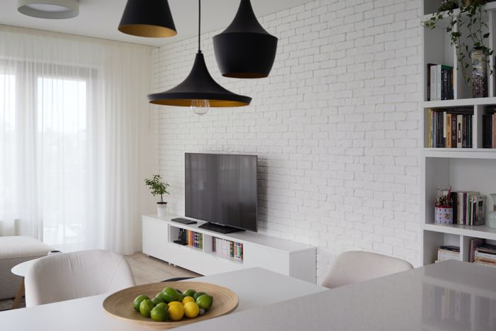 Cool lamps, dining, white walls, white brick wall