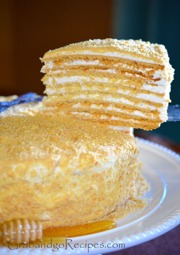 Medovik Russian Honey Cake is very moist with cream filling.