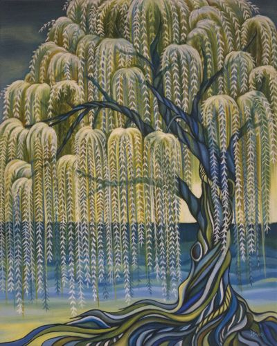 Deb's thoughts: Why do we love Weeping Willow trees? I want to be flexible and resilient like the leaves that sway in the wind. I want to feel anchored and be proud of  every wrinkle like the twisted and always climbing roots of the tree. <br /> The original artwork is sold but prints are available. All prints are hand signed by the artist!<br /> Breathtaking archival prints are available directly from the artist and come with a Statement of Authenticity. The mats are included.<br /> Two…