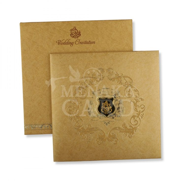 muslim wedding card invitation quotes%0A Gold folding card with Gold design emboss card front made out of of  Metallic finish board