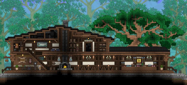 Wooden Pub Terraria With Images Terraria House Ideas Terraria House Design Terrarium Base