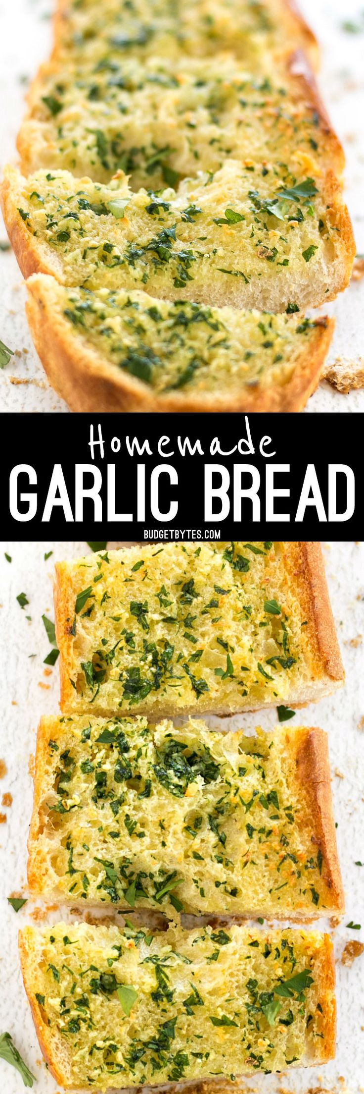 Homemade Garlic Bread is twice as nice for half the price of it's frozen store bought counterpart! Plus it only takes minute to make and can be stored, unbaked, in the freezer. @budgetbytes