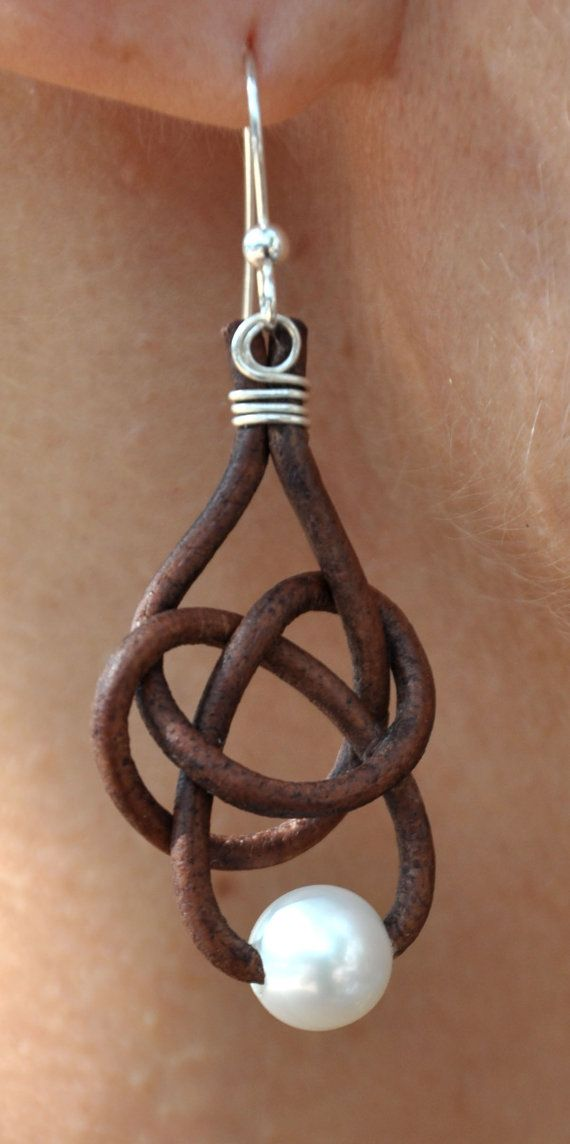 Freshwater Pearl and Leather Earrings - 1 Pearl Friendship Knot Brown - Pearl and Leather Jewelry Collection.  $39