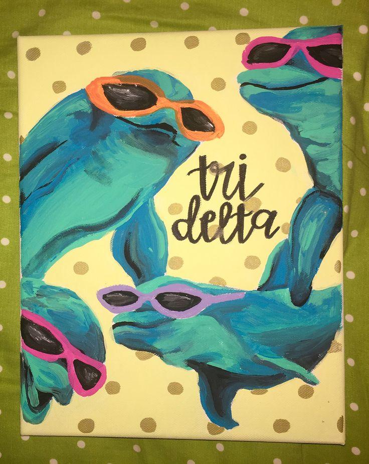 tri delta dolphin canvas