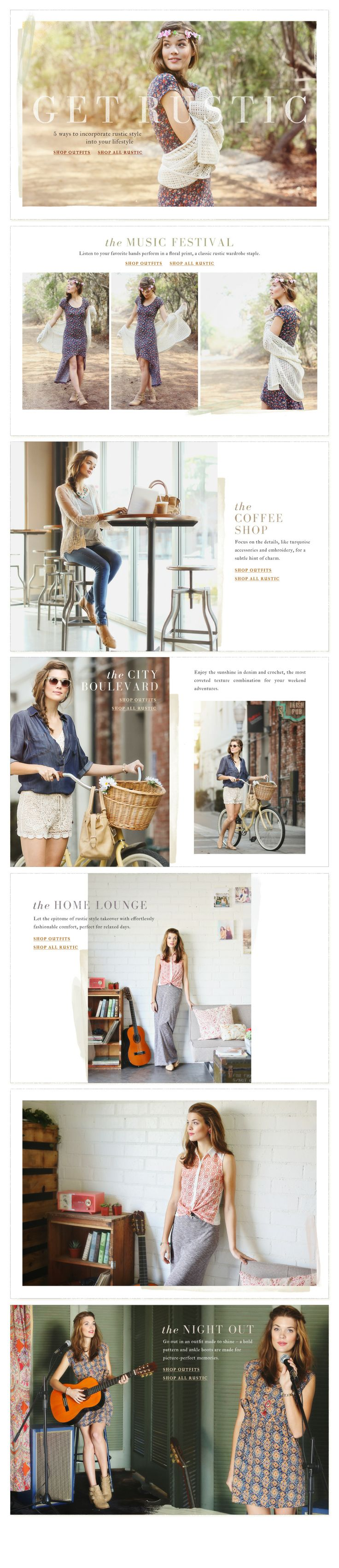 Get Rustic. Ruche is absolutely my favorite place to shop for clothes. SO cute, chic, and simple! These outfits are perfect for spring.
