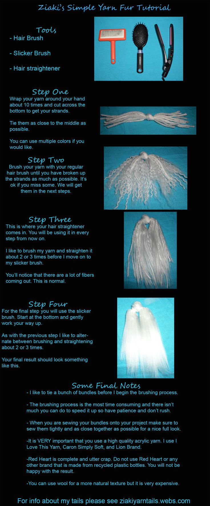 Yarn Fur Tutorial by serenitymoonwolf.deviantart.com on @deviantART. Some extra tips and hints for a nice looking tail. I only pinned this, I did not make the tutorial and I myself have used and had varying degree's of success with RedHeart yarn. In my personal opinion it just depends on the look you are trying to achieve.