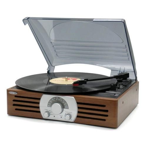 Jensen 3-Speed Stereo Turntable with AM/FM Stereo Radio - JTA-222