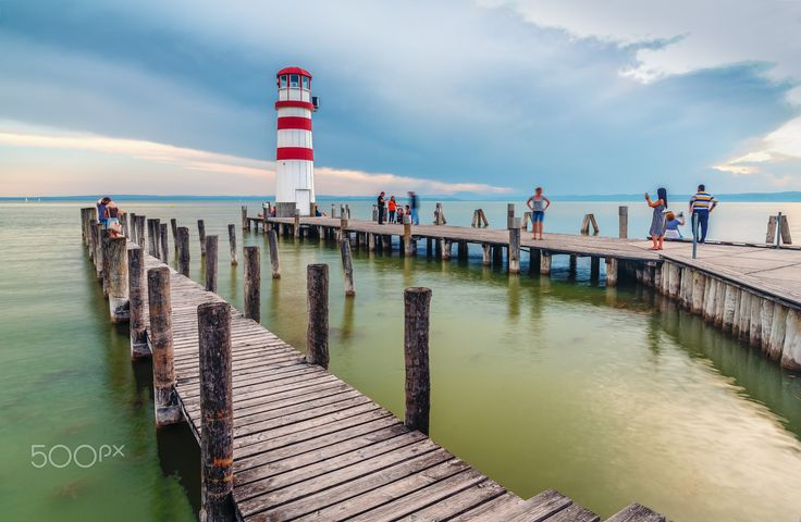 Lighthouse at the lake III - Beautiful lake Neusiedler See with lighthouse in Podersdorf in Austria.