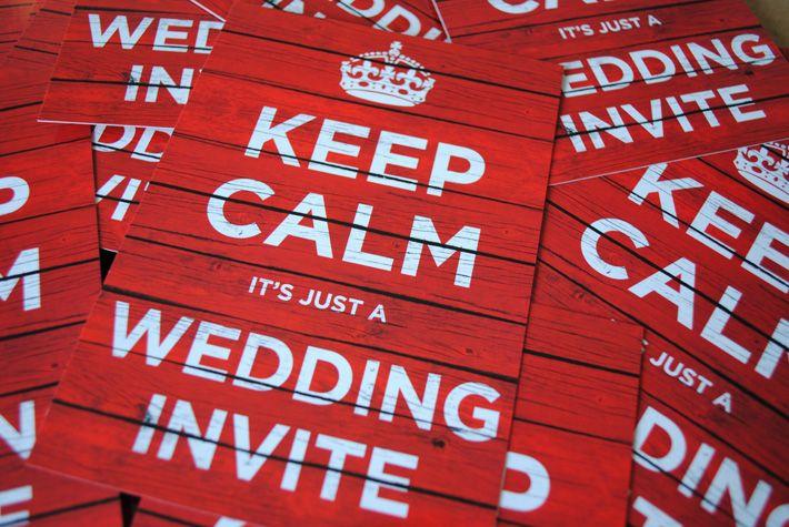 Keep Calm and Carry On themed wedding invites - These super cool looking wedding invites were created for couple who wanted their wedding invites to feature a parody of the famous keep calm and carry on posters which are extremely popular world wide.